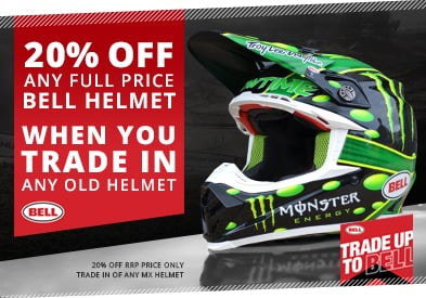 20% OFF ANY Full Price Bell Helmet when you Trade in your old MX Helmet