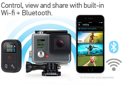 GoPro Hero+ LCD Control, view and share with built-in Wi-Fi and Bluetooth®