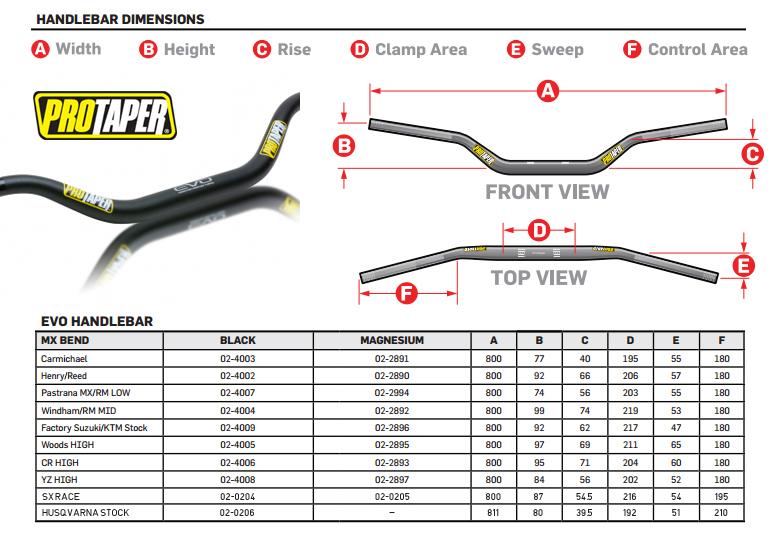 new pro taper EVO Handlebar handlebars Windham MX//RM Mid Bend Black