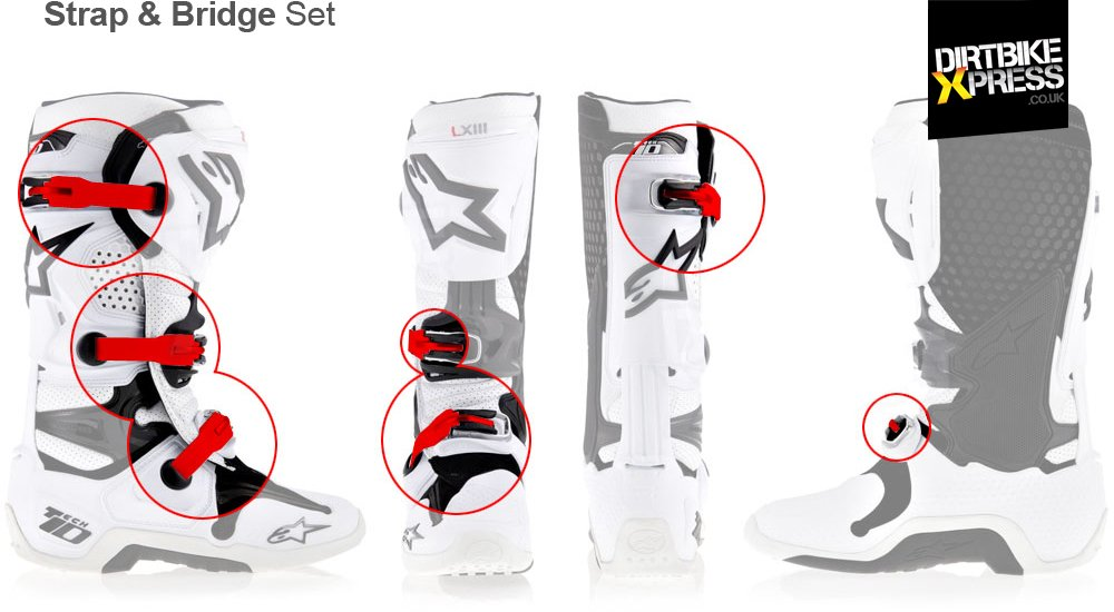 Alpinestars Tech 10 Strap & Bridge Set features