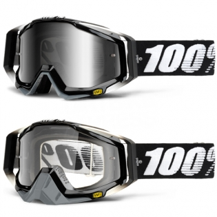 100% Racecraft Goggles - Abyss Black Mirror Lens Image 3