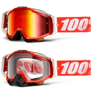 100% Racecraft Goggles - Fire Red Mirror Lens Image 3