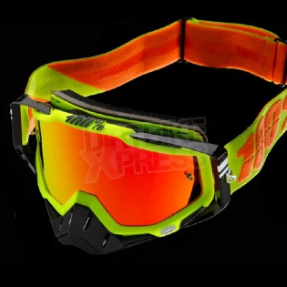 100% Racecraft Goggles - Attack Neon Yellow Mirror Lens Image 2