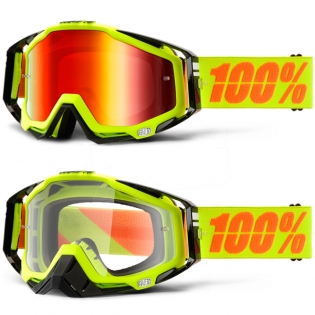 100% Racecraft Goggles - Attack Neon Yellow Mirror Lens Image 3