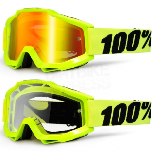100% Accuri Goggles - Fluo Yellow Mirror Lens Image 3