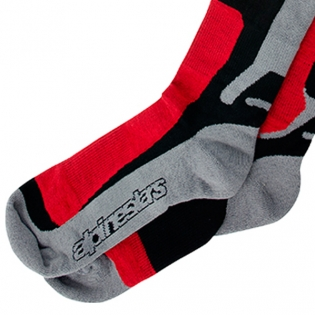 Alpinestars Tech Coolmax Socks - Grey Black Red Image 4