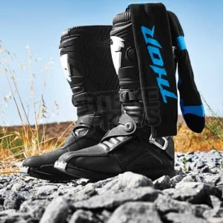 Thor Kids MX Boot Socks - Black Blue Image 3