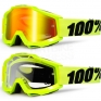 100% Accuri Kids Goggles - Fluo Yellow JR Mirror Lens