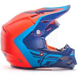 2017 Fly Racing F2 Carbon Helmet - Pure Matt Blue Orange Black Image 2