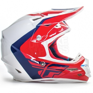 2017 Fly Racing F2 Carbon Helmet - Pure Red Blue White Image 2