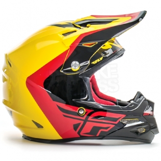 2017 Fly Racing F2 Carbon Helmet - Pure Yellow Black Red Image 3