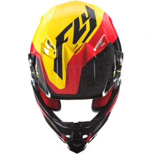 2017 Fly Racing F2 Carbon Helmet - Pure Yellow Black Red Image 4