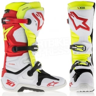 Alpinestars Tech 10 Boots - White Red Neon Yellow Image 2