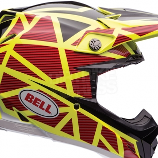 Bell Moto 9 Carbon Flex Helmet - Strapped Yellow Red Image 3