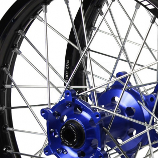 SM Pro Platinum Motocross Wheel Set - Husqvarna Blue Black Silver Image 2