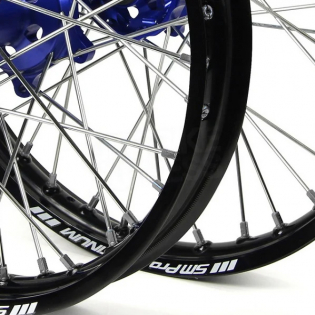 SM Pro Platinum Motocross Wheel Set - Husqvarna Blue Black Silver Image 4