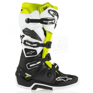Alpinestars Tech 7 Boots - Black White Flo Yellow Image 2