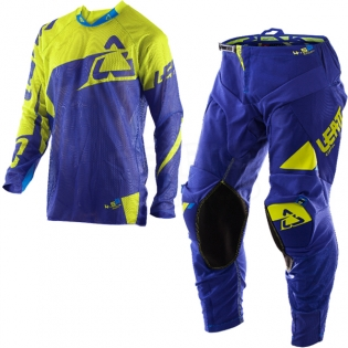 2017 Leatt GPX 4.5 X-Flow Motocross Kit Combo - Blue Lime Image 3