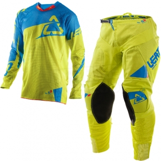 2017 Leatt GPX 4.5 X-Flow Motocross Kit Combo - Lime Blue Image 3