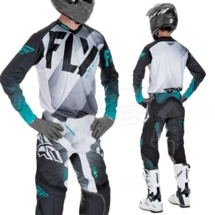 2017 Fly Racing Lite Hydrogen Kit Combo - Black White Teal Image 2