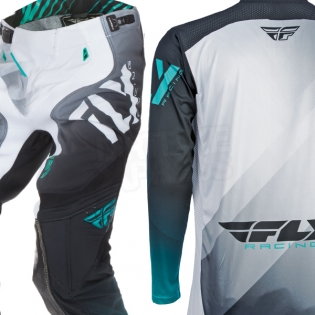 2017 Fly Racing Lite Hydrogen Kit Combo - Black White Teal Image 4