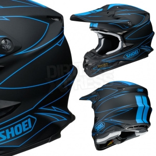 2017 Shoei VFXW Helmet - Hectic Matt Black Blue TC2 Image 4