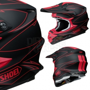 2017 Shoei VFXW Helmet - Hectic Matt Black Red TC1 Image 4