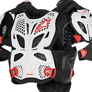 Alpinestars A10 Full Chest Protector - White Black Red Image 2