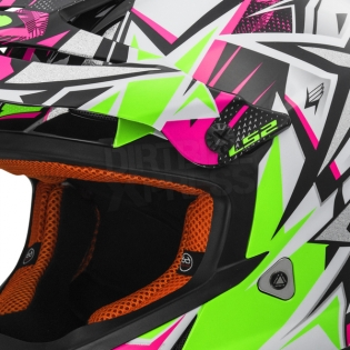 LS2 Fast MX437 Helmet - Strong White Green Pink Image 2