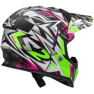 LS2 Fast MX437 Helmet - Strong White Green Pink Image 3