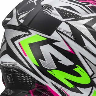 LS2 Fast MX437 Helmet - Strong White Green Pink Image 4