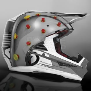 6D ATR-1 Helmet - Edge Neon Orange White Image 2