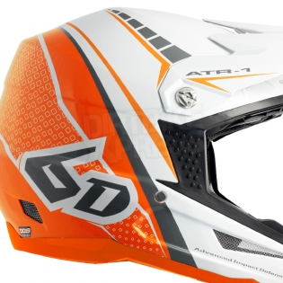 6D ATR-1 Helmet - Edge Neon Orange White Image 3