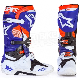 Alpinestars Tech 10 Boots - Ltd Indianapolis White Blue Orange Image 2