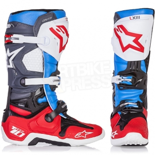 Alpinestars Tech 10 Boots - Ltd Bomber Red Aqua Anthracite White Image 2