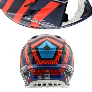 Troy Lee Designs SE4 Carbon Helmet - Streamline Navy Orange Image 3