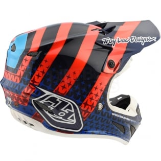 Troy Lee Designs SE4 Carbon Helmet - Streamline Navy Orange Image 4