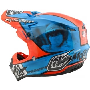 Troy Lee Designs SE4 Composite Helmet - McQueen Blue Orange Image 2