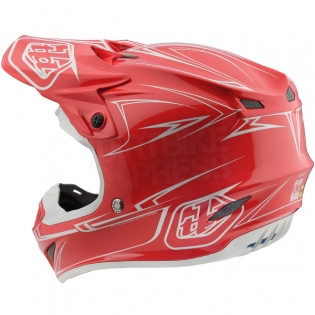Troy Lee Designs SE4 Polyacrylite Helmet - Pinstripe Red Image 2