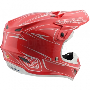 Troy Lee Designs SE4 Polyacrylite Helmet - Pinstripe Red Image 4