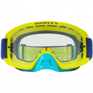 Oakley O Frame 2.0 Goggles - Flo Lime Blue Clear Dark Grey Image 2
