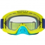Oakley O Frame 2.0 Goggles - Flo Lime Blue Clear Dark Grey