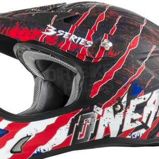 2018 ONeal 3 Series Motocross Helmet - Mercury Matt Blue Red White Image 3