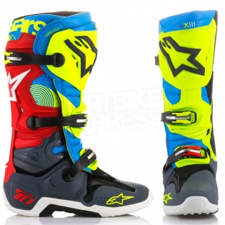 Alpinestars Tech 10 Boots - Ltd Union Flo Yellow Turq Red Grey Image 2