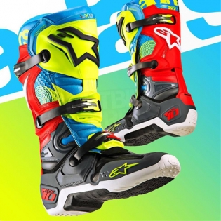 Alpinestars Tech 10 Boots - Ltd Union Flo Yellow Turq Red Grey Image 3