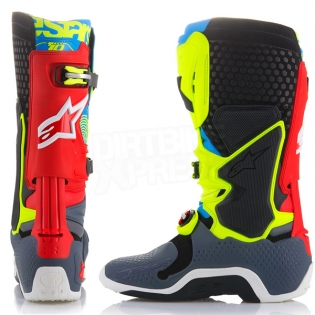Alpinestars Tech 10 Boots - Ltd Union Flo Yellow Turq Red Grey Image 4
