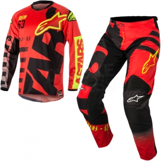 2018 Alpinestars Racer Kit Combo - Braap Red Black Flo Yellow Image 3