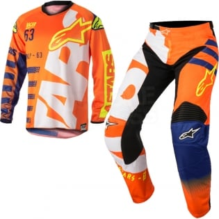 2018 Alpinestars Racer Kit Combo - Braap Flo Orange Blue White Image 3