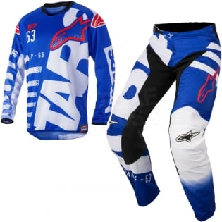 2018 Alpinestars Racer Kit Combo - Braap Blue White Red Image 3