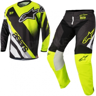 2018 Alpinestars Racer Kit Combo - Supermatic Black Flo Yellow Grey Image 3